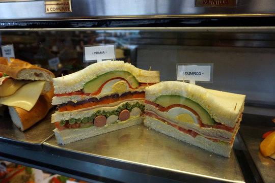Sandwiches with avocado and other ingredients are seen at coffee shop Manolo in Miraflores district of Lima