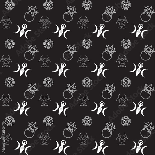 Vector Seamless Pattern For Wiccan Community Moon Goddess Horned