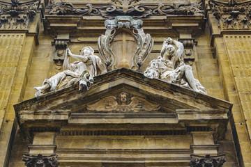 Baroque Style Church Facade Low Angle View
