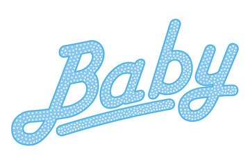 Cursive lettering of the word BABY, blue colored with bright and small dots. Randomly dotted, italic writing. Isolated. Illustration on white background. Vector.
