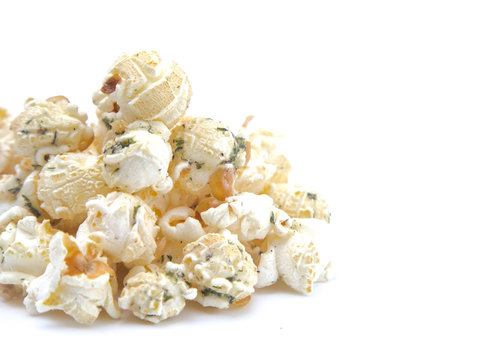 Ranch Flavored White Cheese Popcorn on a White Background