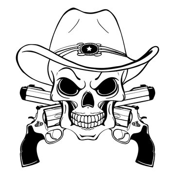 Cowboy skull in a western hat and a pair of crossed guns
