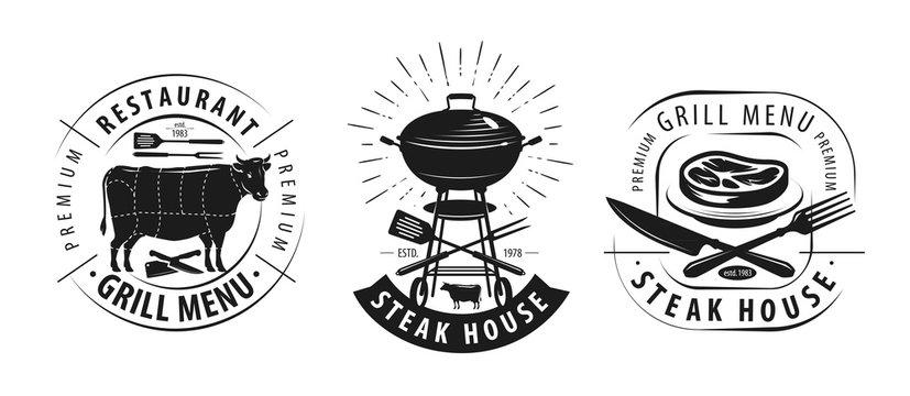 Steak house, barbecue logo or label. Emblems for restaurant menu design. Vector illustration