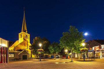 Village square in Zoeterwoude-dorp during dusk. A small town in the Netherlands