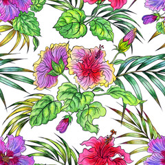 Seamless pattern of hibiscus and palm leaves, hand drawing watercolor. Tropical pattern for fabrics, backgrounds and other designs.