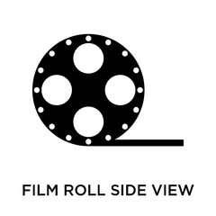 Film roll side view icon vector sign and symbol isolated on whit