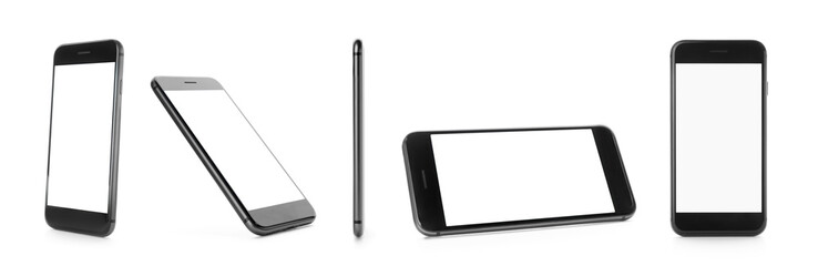 Different views of smartphone on white background. Mockup for design