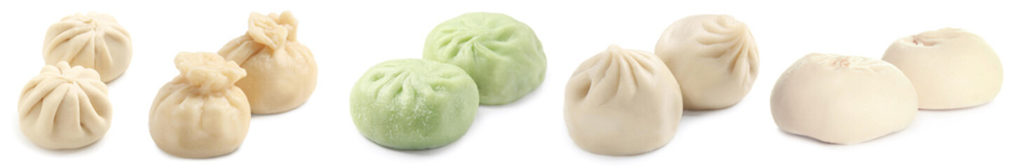 Set with tasty baozi and khinkali dumplings on white background