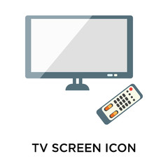 Tv screen icon vector sign and symbol isolated on white backgrou