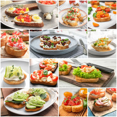 Set with different delicious bruschettas