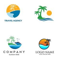 travel logo, beach vector illustration