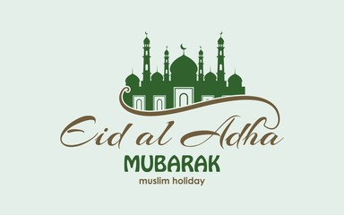 vector typographic illustration Eid Al Adha . lettering composition of muslim holy month with mosque building
