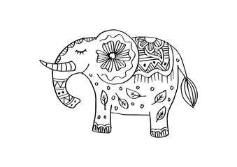 Decorative elephant illustration. Indian theme with ornaments.