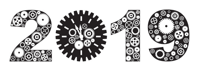 Happy New Year 2019 with Gears vector illustration