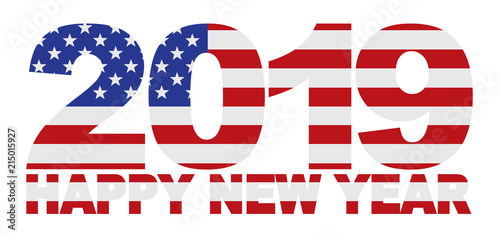 2019 happy new year usa american flag vector illustration