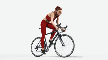 Girl with long hair on bicycle, athletic woman in sports outfit riding a bike on white background, 3D rendering