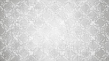 Sacred geometry circle stamp pattern shape on white paint wall pattern texture.