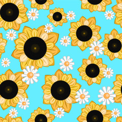 seamless texture with cartoon sunflowers and daisies on a blue background