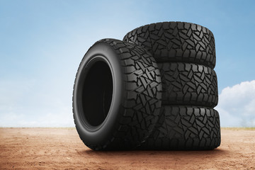3d rendering Car tires on background