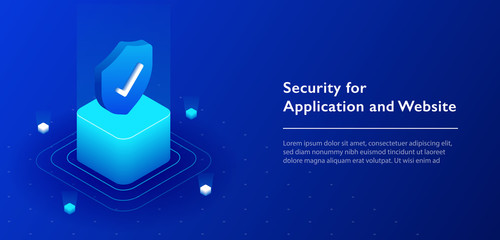 3D isometric illustration of security shield server for data protection concept landing page or web template design.