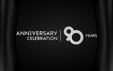 90 Years Anniversary Logotype with   Silver Multi Linear Number Isolated on Dark Background