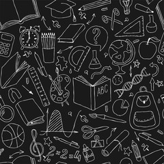 Back to school black and white doodle hand draw seamless vector pattern. Good for textile fabric design, wrapping paper and website wallpapers