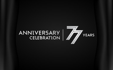 77 Years Anniversary Logotype with   Silver Multi Linear Number Isolated on Dark Background