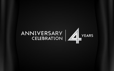 4 Years Anniversary Logotype with   Silver Multi Linear Number Isolated on Dark Background