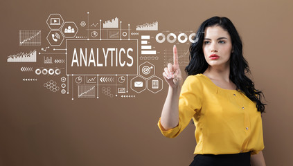 Analytics with business woman on a brown background
