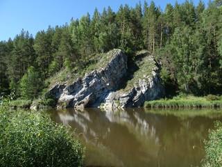 """Rock """"Visyachiy kamen"""" on the Chusovaya river, Sverdlovskaya oblast, Russia"""