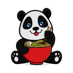 Panda eats noodles