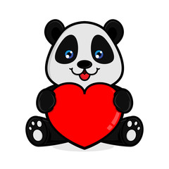 Panda hold love sign