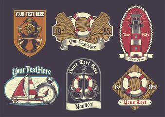 set of nautical badge
