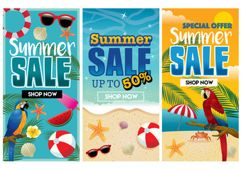 tropical summer flyer design in set