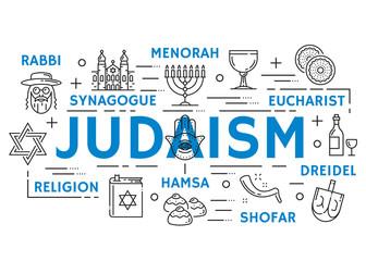 Judaism religion symbols, thin line icons
