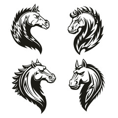 Tribal horse heads. Mascot or tattoo