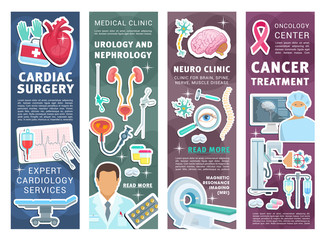 Medical clinic banners with doctors and instrument