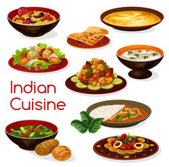 Indian cuisine meal icons and dishes