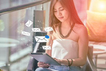 Young woman hands using Tablet computer receive and sending Email with new Email incoming, Electronic E-mail concept.