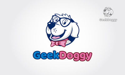 Geek Doggy logo illustration, high quality vector mascot for your all business.