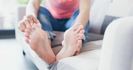 woman with athlete foot