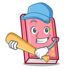 Playing baseball diary character cartoon style