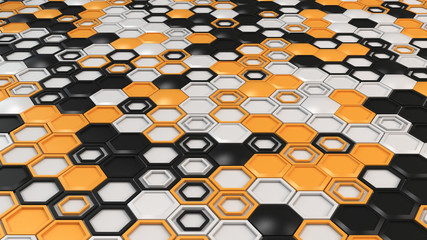 Abstract 3d background made of black, white and orange hexagons on white background