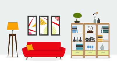 Living room interior. Modern furniture: sofa, bookshelf, lamp, pictures on the wall. House or apartment interior design. Home inside. Vector illustration.