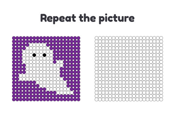 Vector illustration. Game for preschool children. Repeat the picture. Paint the circles. Halloween. white ghost on purple background.