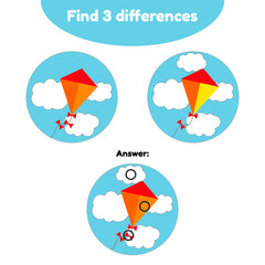 Vector illustration. Puzzle game for preschool children. Find 3 differences. With the answer. kite in the blue sky and clouds
