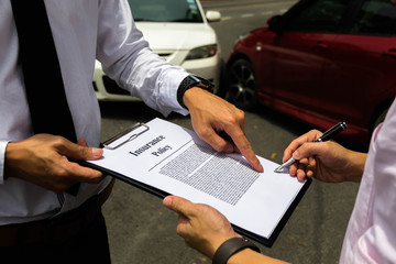 The insurance agent working claim process in payment on from parties .Insurance claim concept .