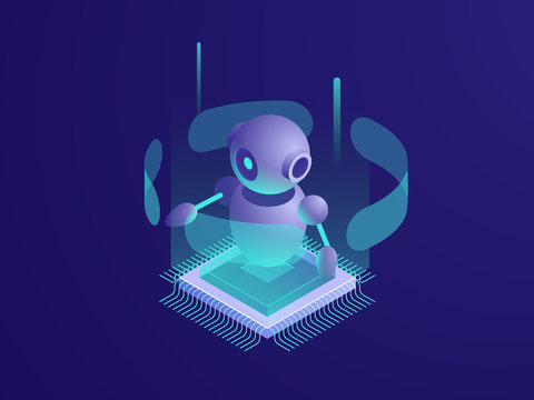 Artificial intelligence ai robot, server room, digital technology banner, computer equipment, big data processing, automated process isometric vector neon