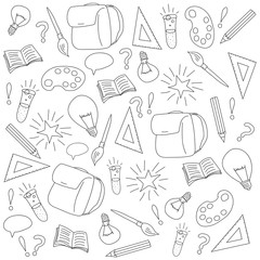 Back to school vectror hand drawn illustration  pattern background