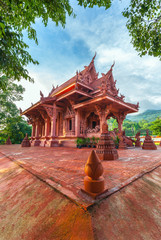 Terracotta temple Wat Sila Ngoo on Koh Samui in Thailand. Shooting with the wide angle lens.